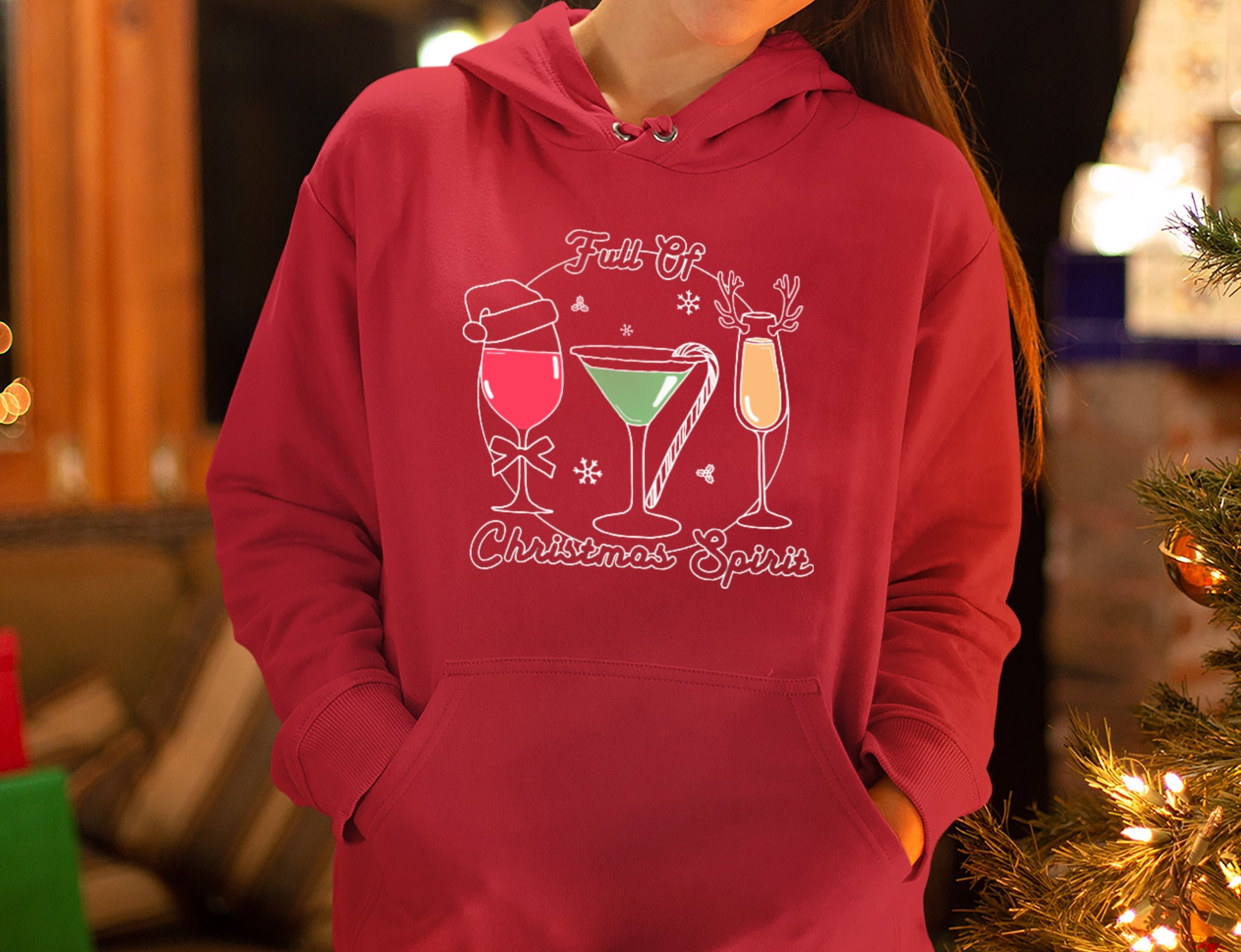 Red hoodie with drinks saying full of christmas spirit - HighCiti