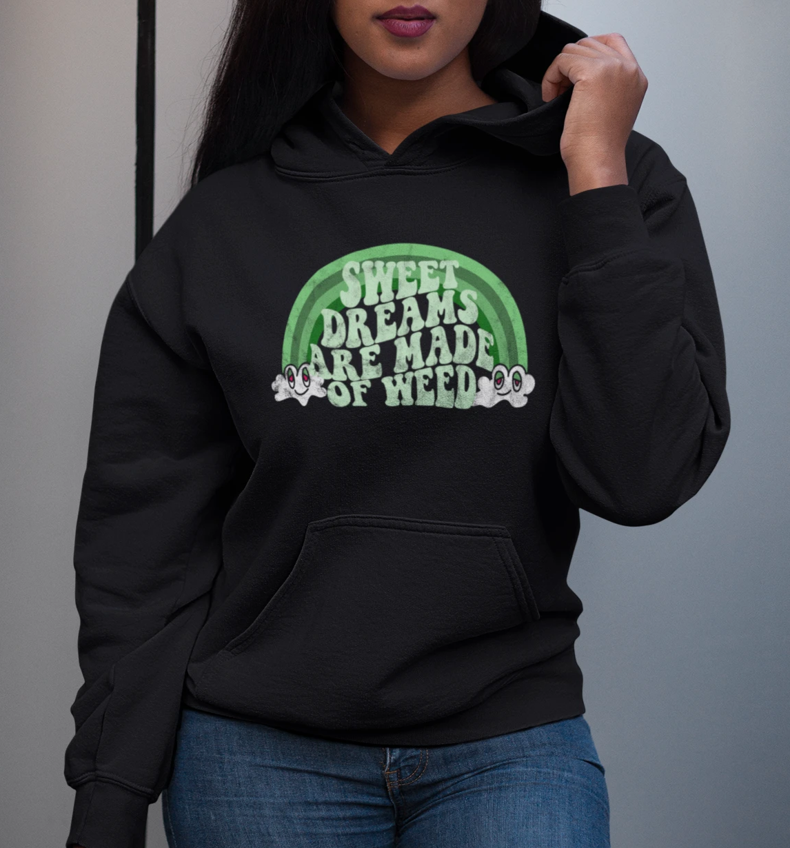 Black hoodie with a green rainbow that says sweet dreams are made of weed - HighCiti