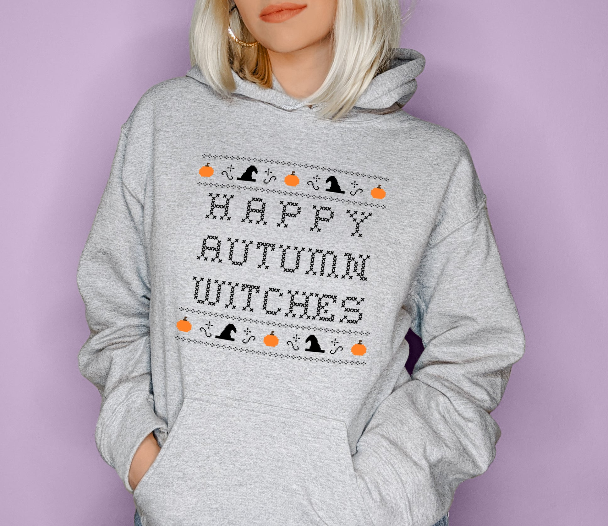 Grey hoodie saying happy autumn witches - HighCiti