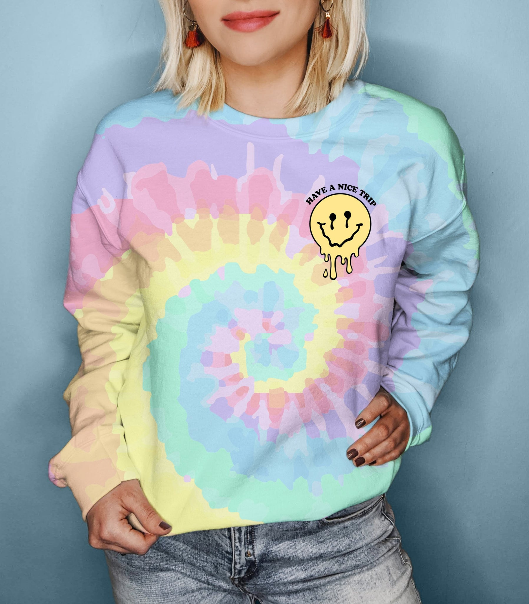 Tie-dye sweatshirt with melted smiley face that says have a nice trip - HighCiti