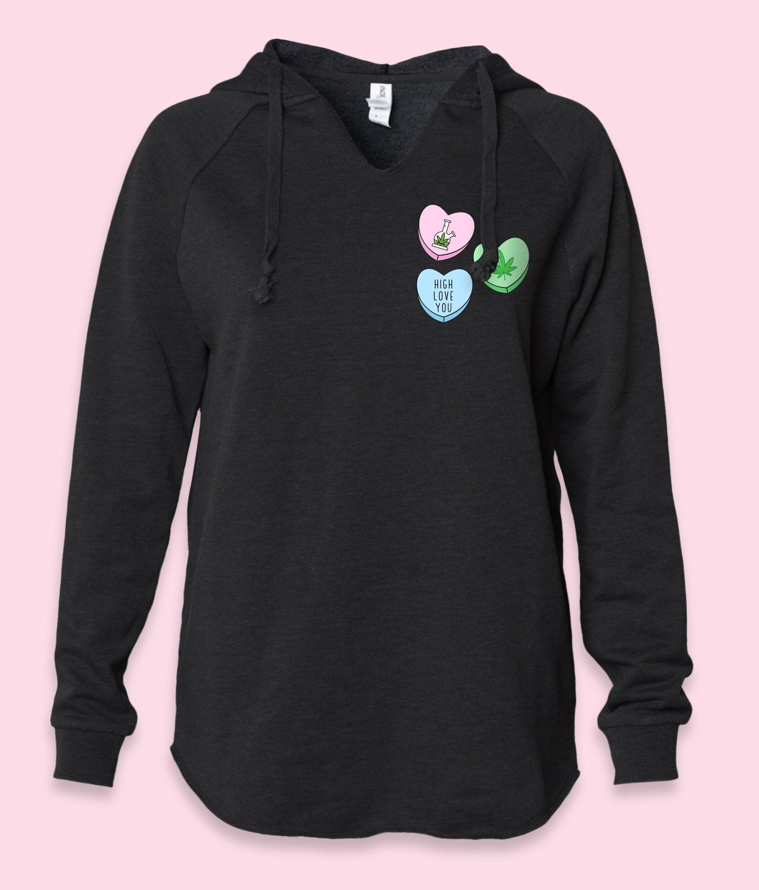 Black womens hoodie with three stoner candy hearts that says high love you - HighCiti
