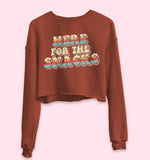 Brick crop sweatshirt with colorful retro graphic that says here for the snacks - HighCiti