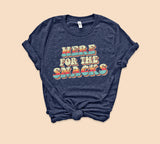 Heather navy shirt with colorful retro graphic that says here for the snacks - HighCiti