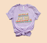 Heather lilac shirt with colorful retro graphic that says here for the snacks - HighCiti