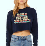 Navy crop sweatshirt with colorful retro graphic that says here for the snacks - HighCiti