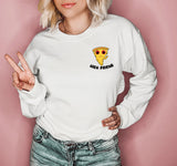 White sweatshirt with a stoned pizza that says high friend - HighCiti