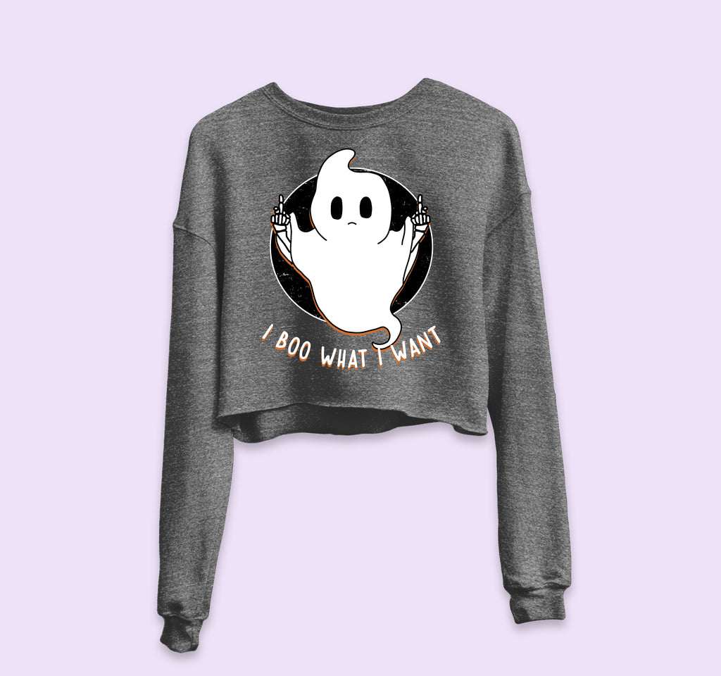 I Boo What I Want Crop Sweatshirt - HighCiti