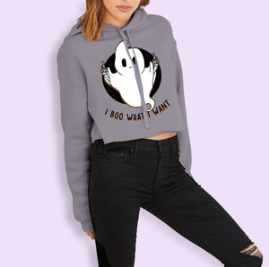 I Boo What I Want Crop Hoodie