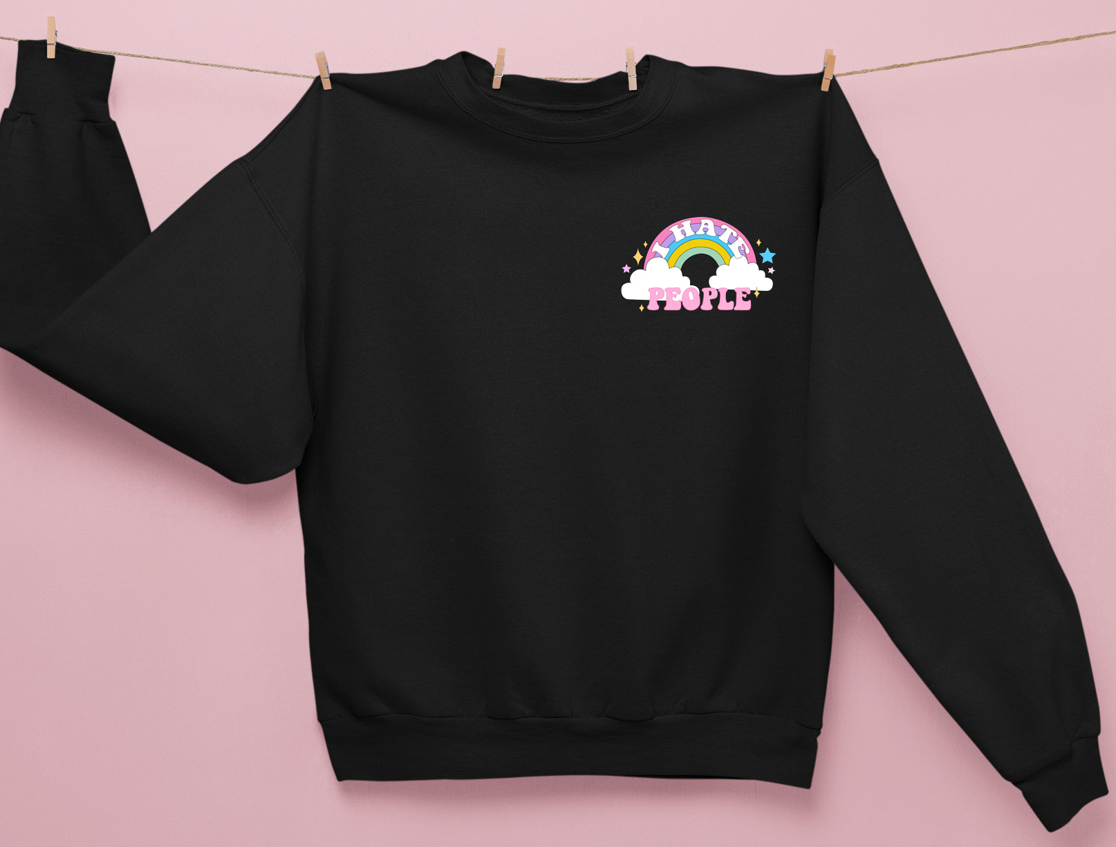 Black sweatshirt with a colorful rainbow saying I hate people - HighCiti
