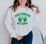 White sweatshirt with beer pints that says irish drinking team - HighCiti