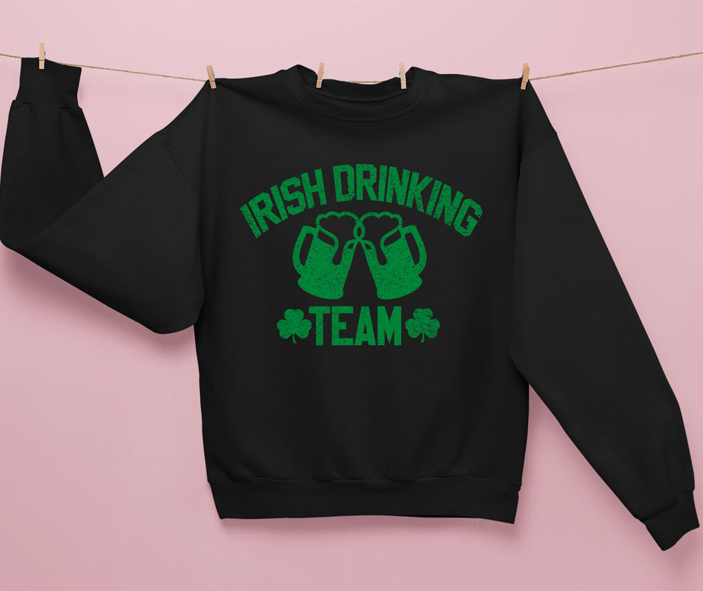 Black sweatshirt with beer pints that says irish drinking team - HighCiti