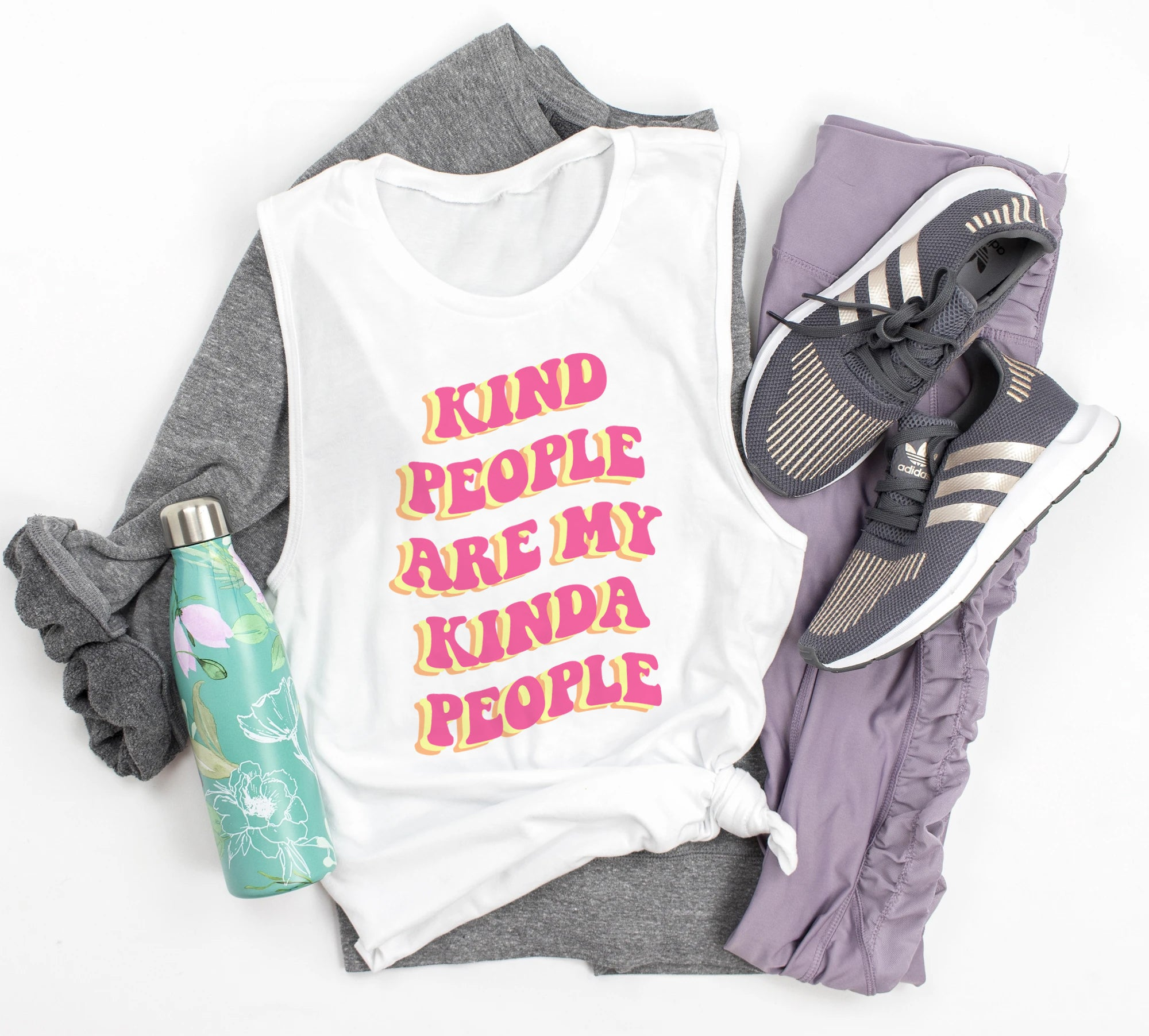 White muscle tank that says kind people are my kinda people - HighCiti