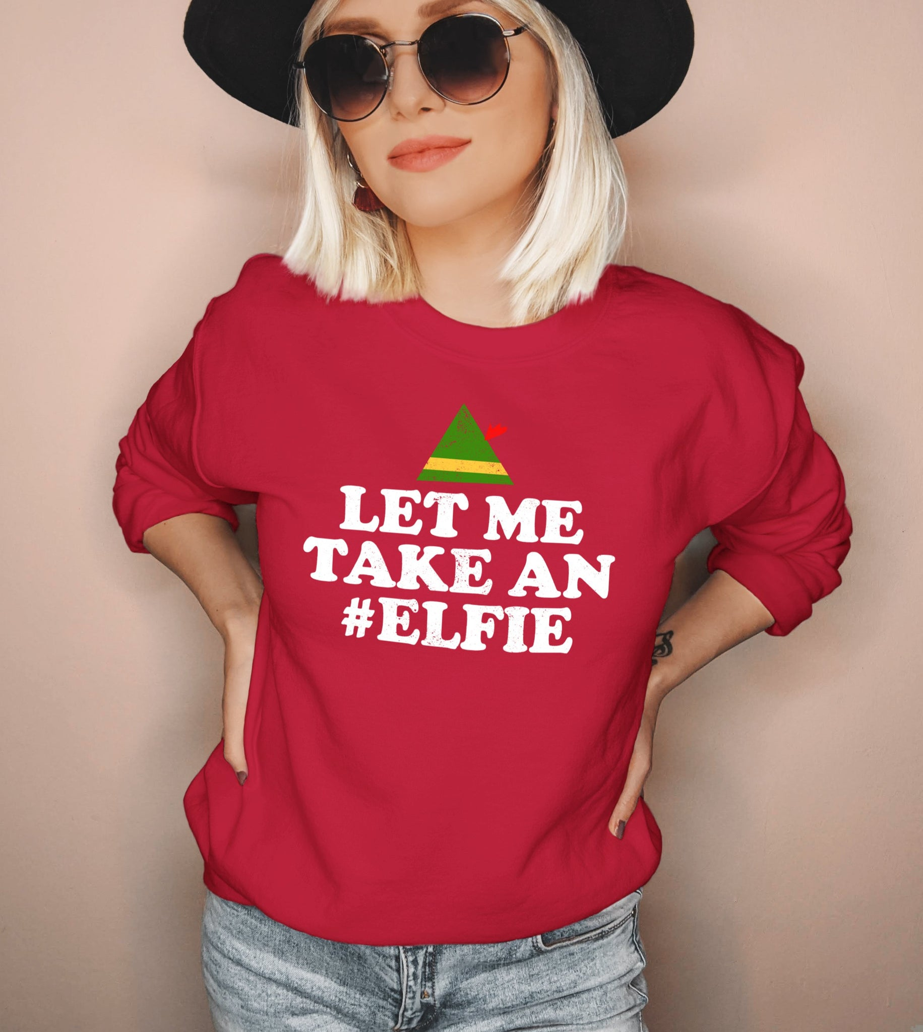 Red sweatshirt saying let me take an elfie - HighCiti