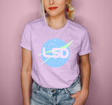 Heather lilac shirt with a nasa logo that says lsd - HighCiti