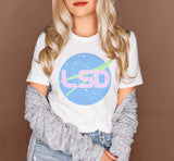 White shirt with a nasa logo that says lsd - HighCiti