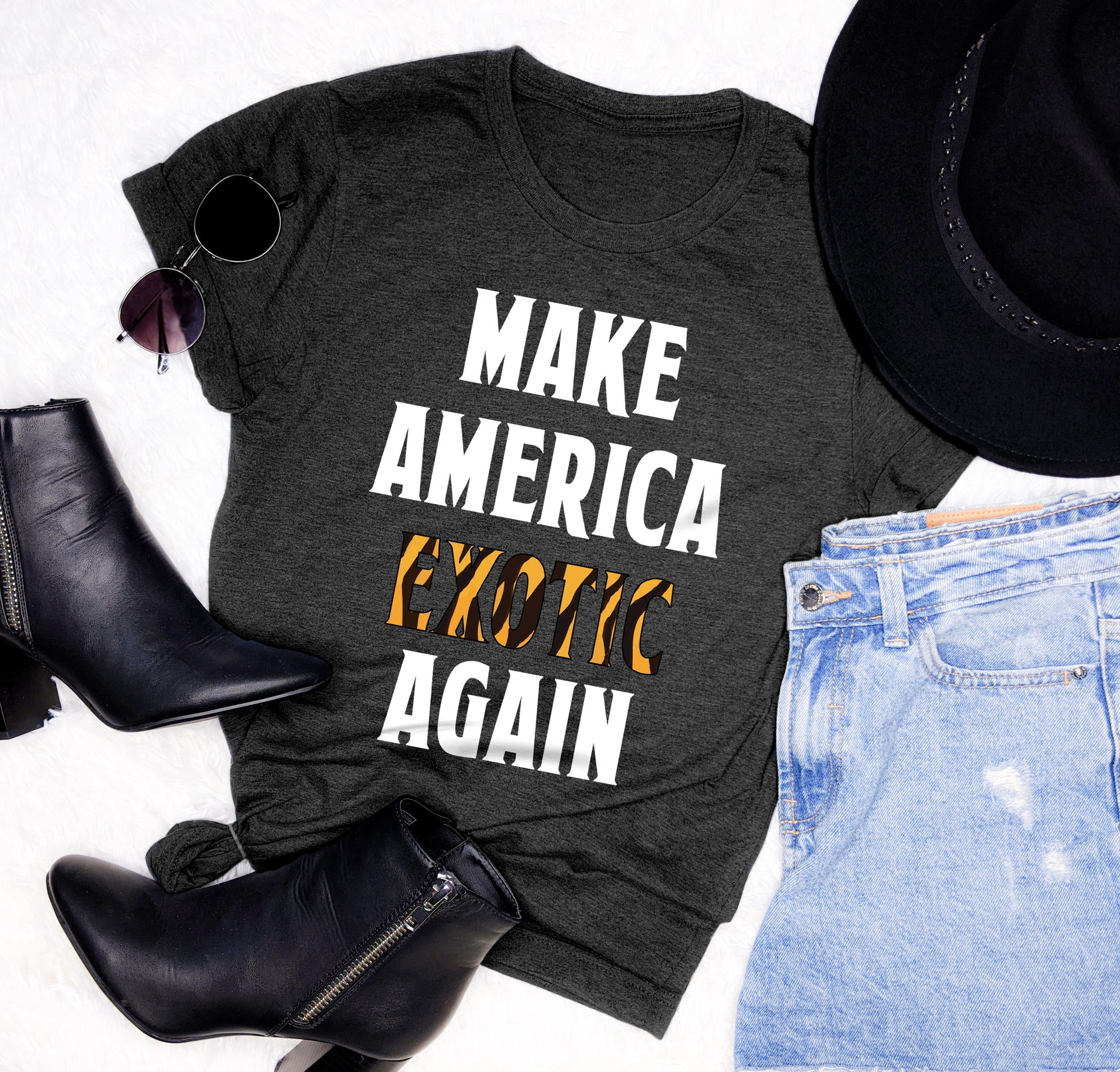 Heather black shirt that says make america exotic again - HighCiti