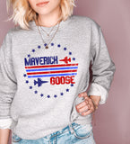 Grey sweatshirt with maverick and goose top gun graphic - HighCiti