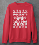 Red sweatshirt saying it's the most wondeful time for a beer - HighCiti
