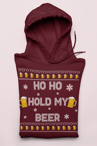 Maroon hoodie with beers saying ho ho hold my beer - HighCiti