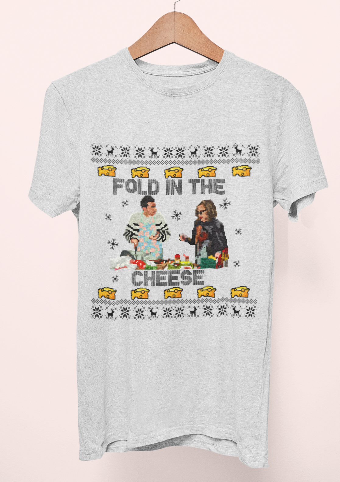 Grey shirt with moira rose and david rose saying fold in the cheese - HighCiti