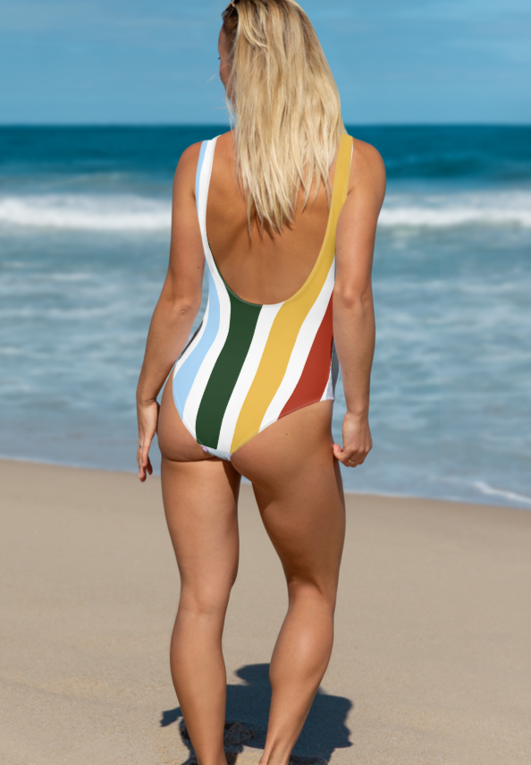 Multicolor stripes swimsuit that says Piña colada - HighCiti