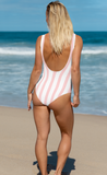Pink stripes swimsuit that says rosé all day - HighCiti