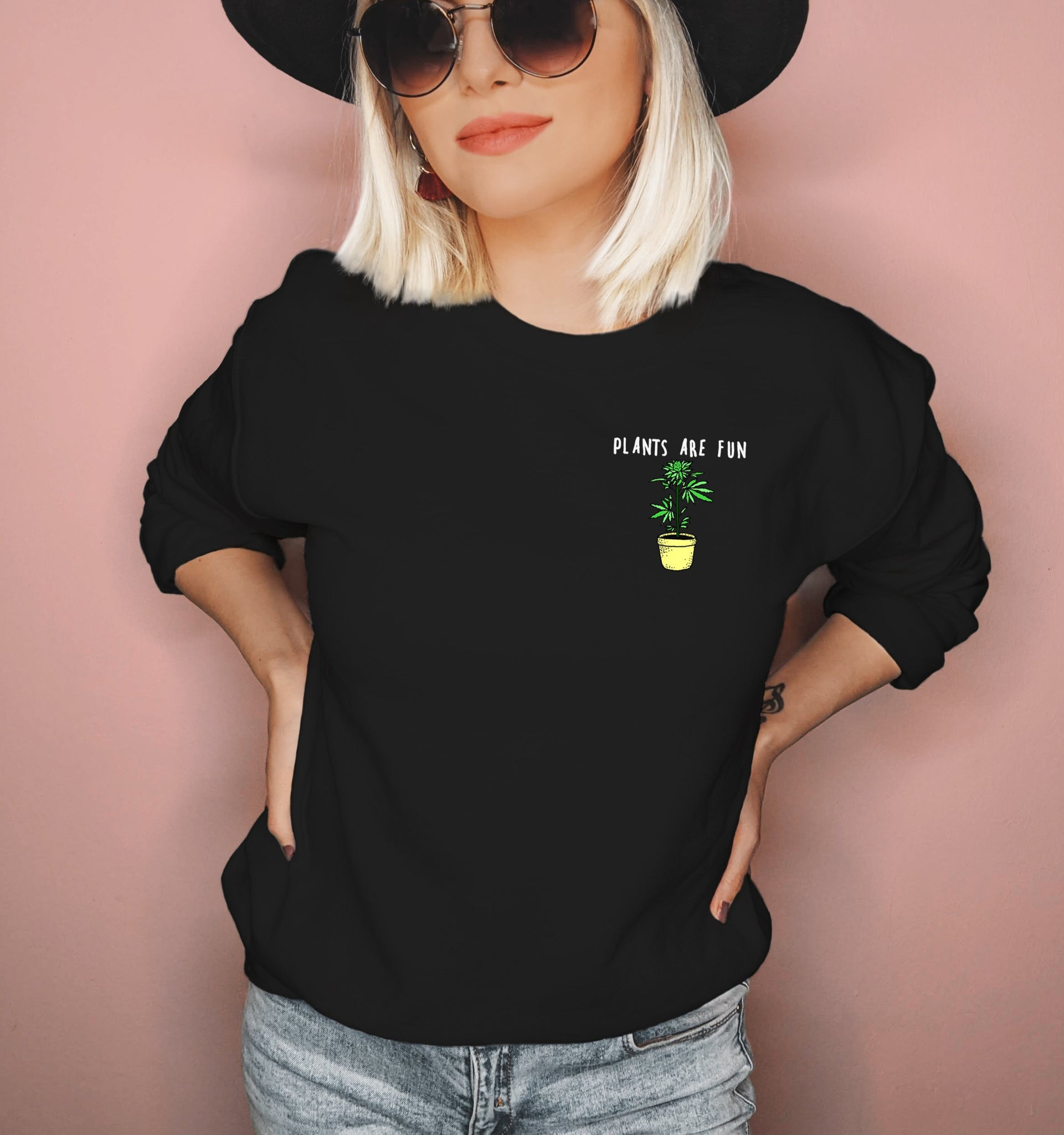 Black sweatshirt with a weed plant that says plants are fun - HighCiti