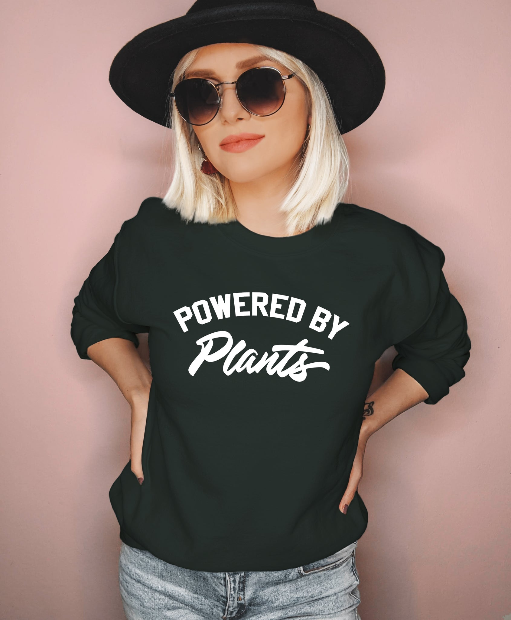 Forest sweatshirt saying powered by plants - HighCiti