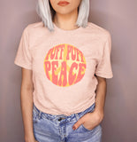 Peach shirt wit ha peace sign that says puff puff peace - HighCiti