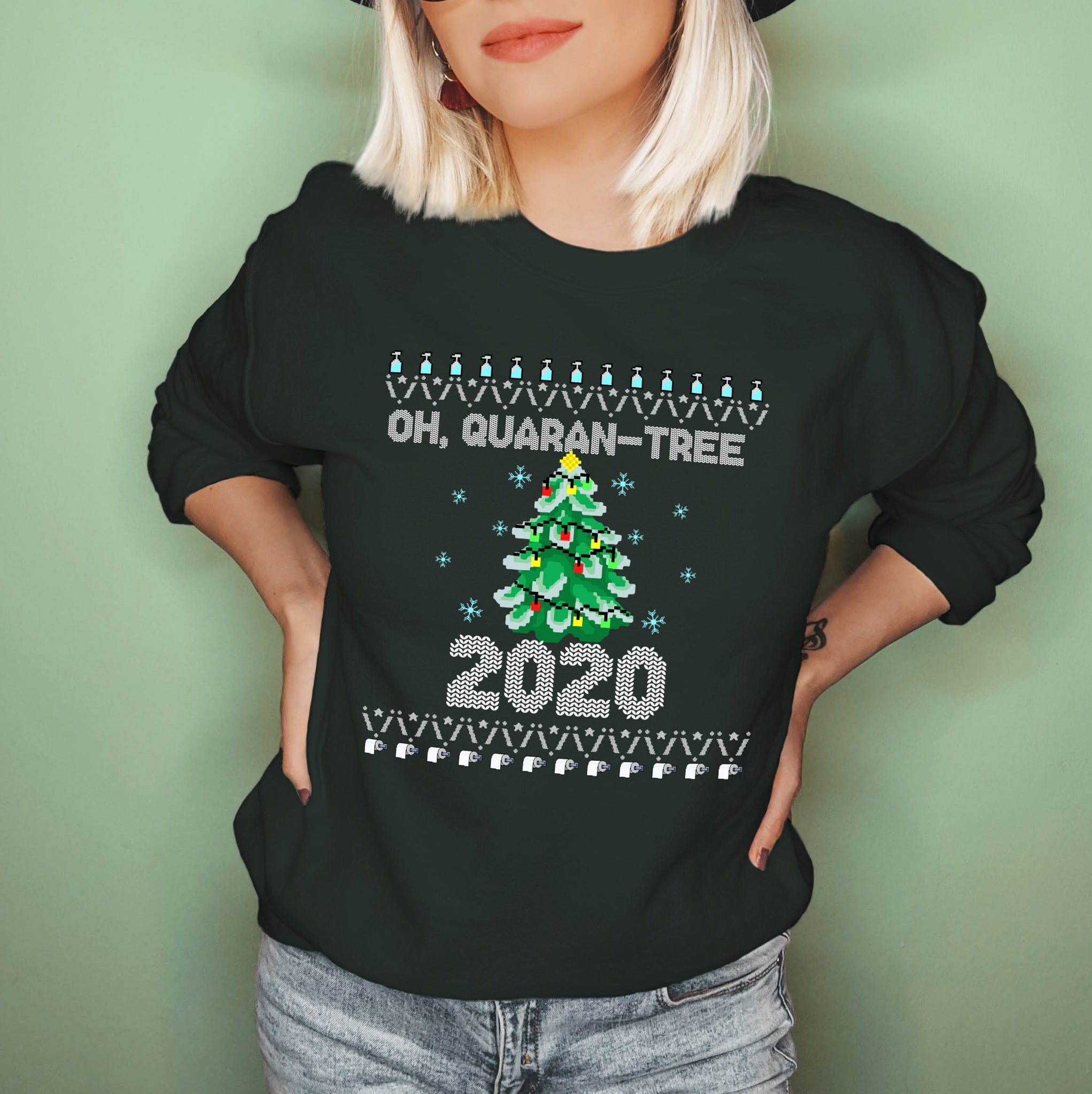 Forest sweatshirt with a christmas tree saying oh, quaran-tree - HighCiti