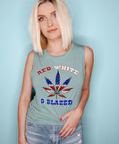 Red White And Blazed Muscle Tank