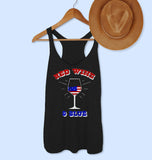 Black tank with a wine glass that says red wine and blue - HighCiti