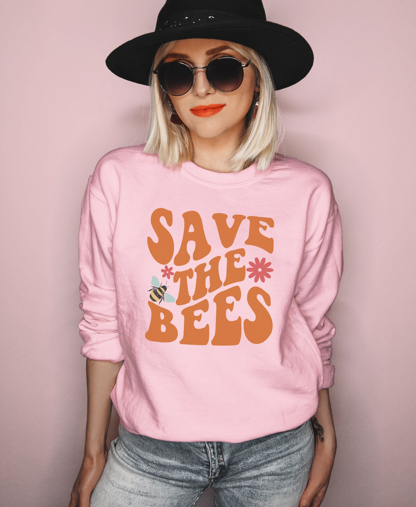 Pink sweatshirt with bees and flower that says save the bees - HighCiti