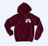 Maroon hoodie with a rainbow that says say perhaps to drugs - HighCiti