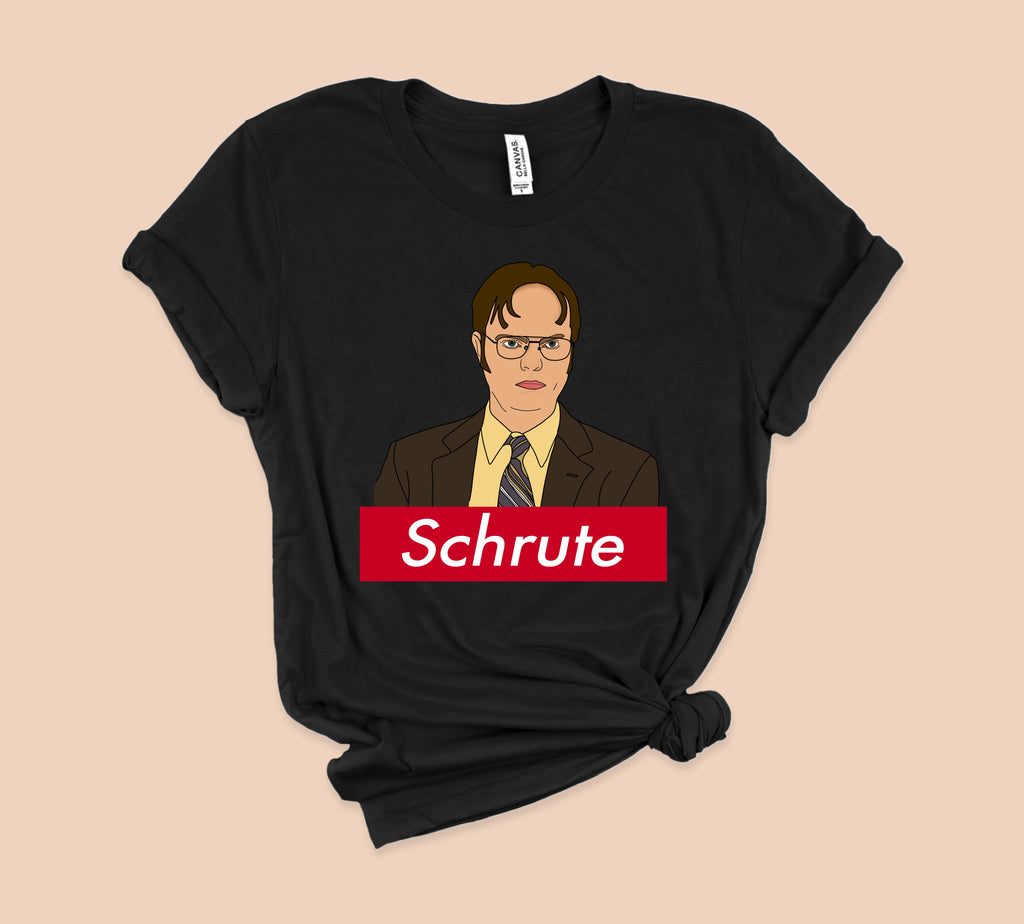 Black t-shirt with dwight schrute from the office parody supreme logo - HighCiti