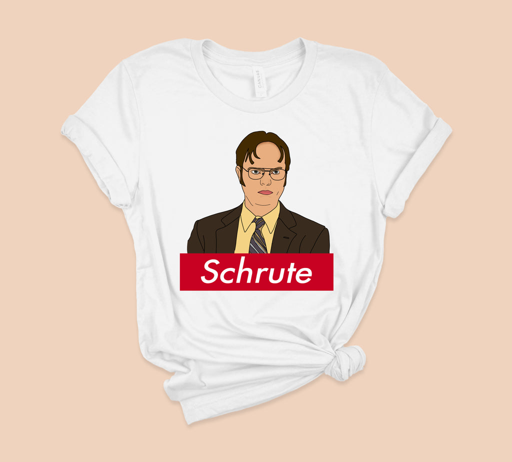 White t-shirt with dwight schrute from the office parody supreme logo - HighCiti