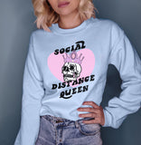 Light blue sweatshirt with skull crown that says social distance queen - HighCiti
