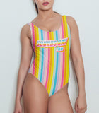Rainbow stripes swimsuit saying sounds gay I'm in - HighCiti