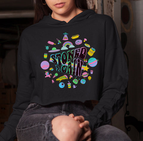 Black crop hoodie with stoner weed art work saying stoned again - HighCiti