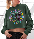 Military green crop hoodie with stoner weed art work saying stoned again - HighCiti