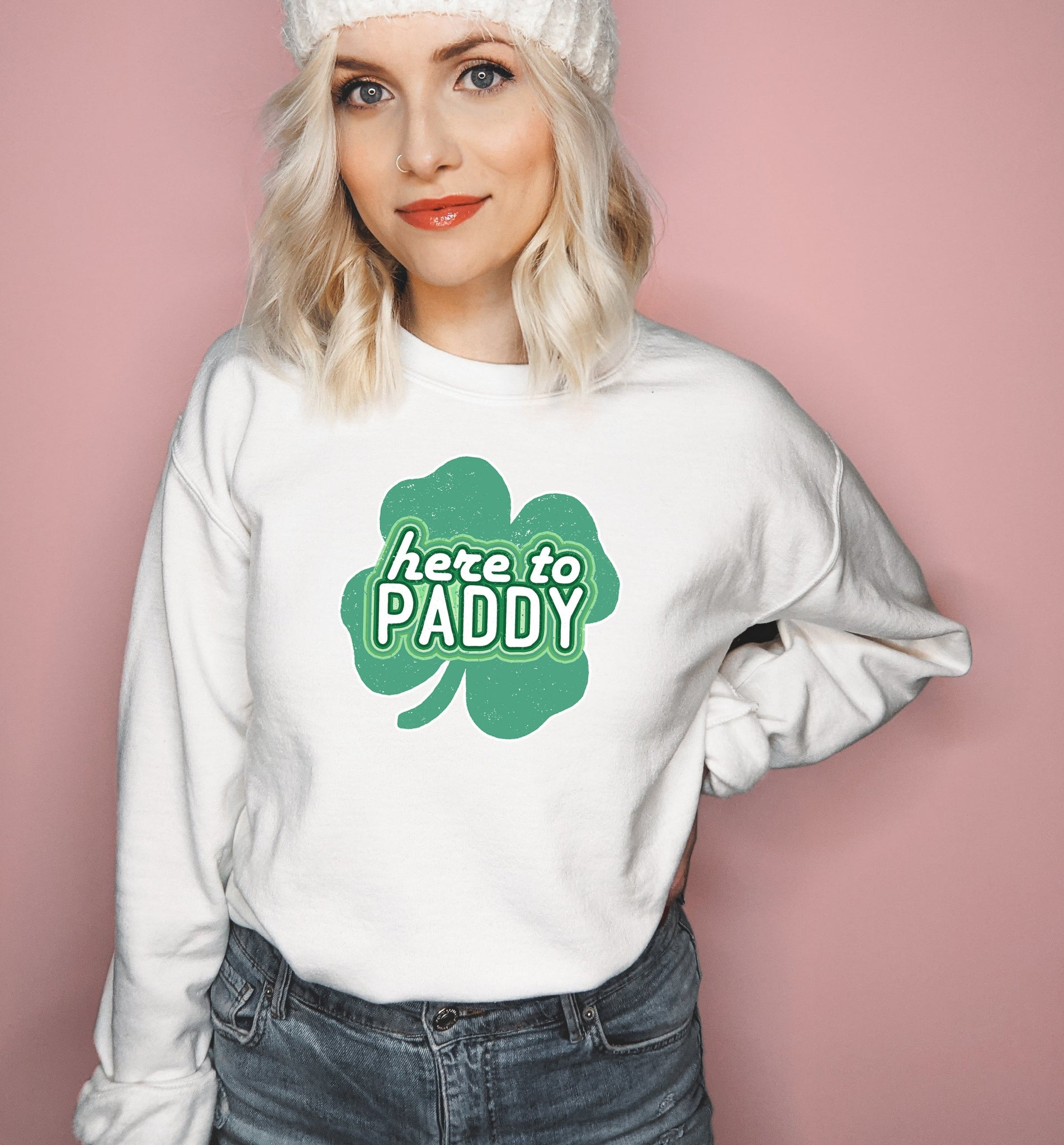 White sweatshirt with a four clover leaf saying here to paddy - HighCiti