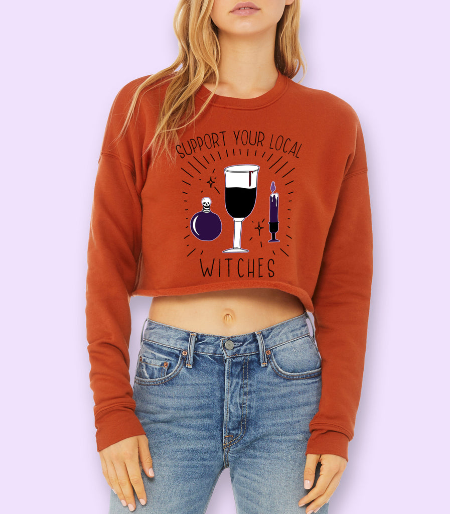 Support Your Local Witches Crop Sweatshirt - HighCiti