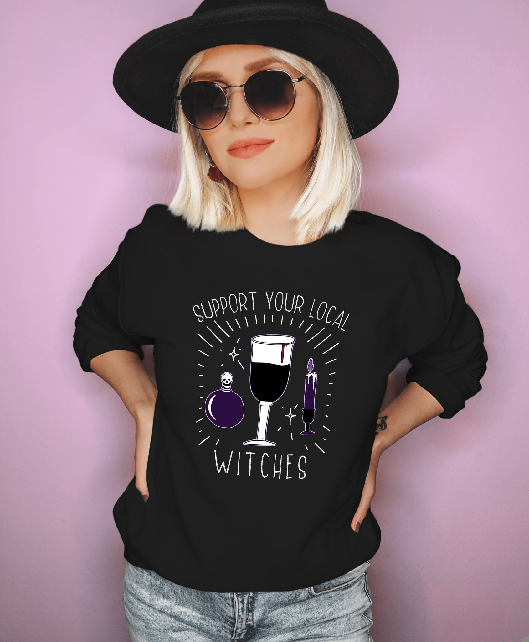 Black sweatshirt saying support your local witches - HighCiti
