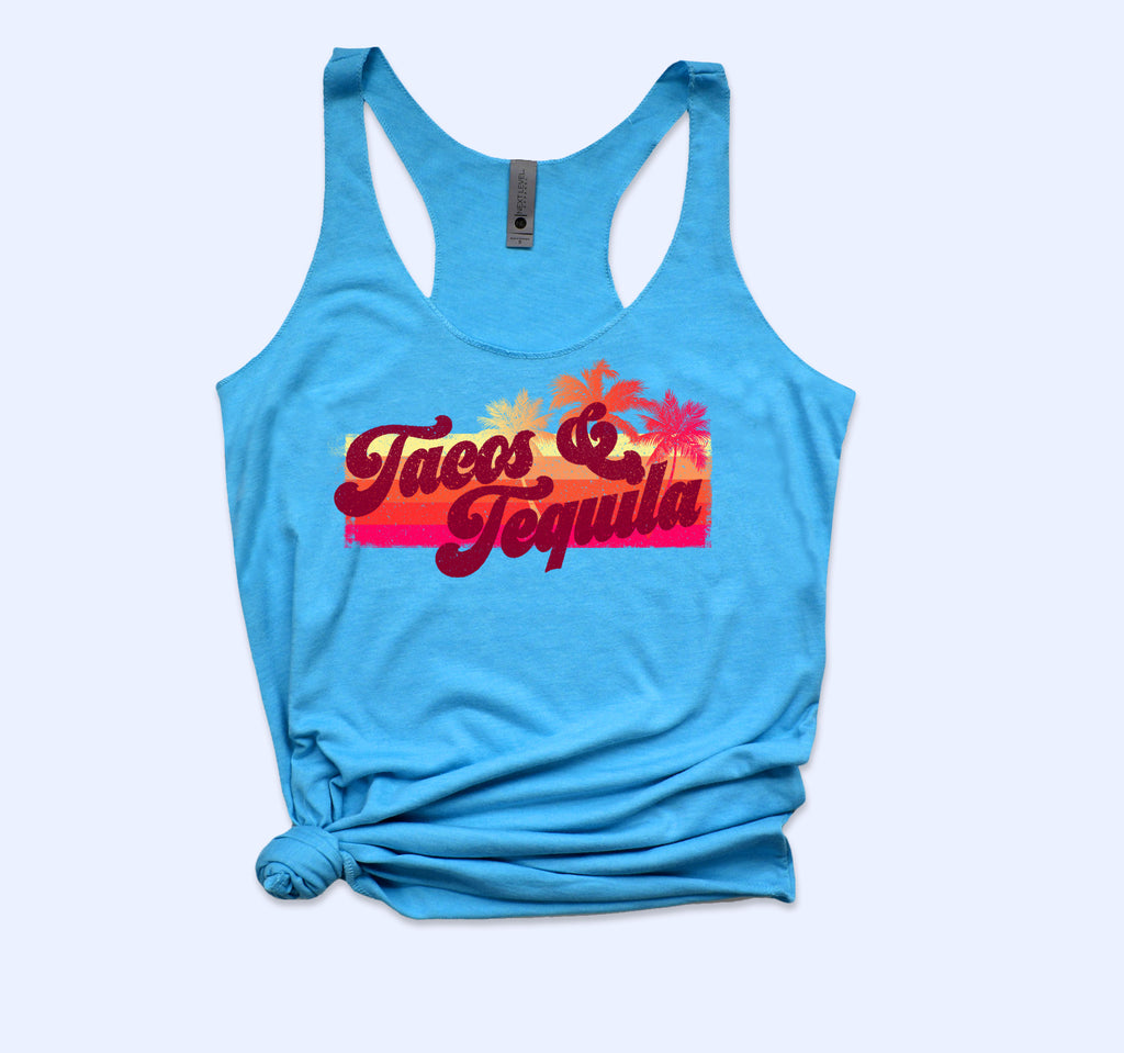 Tacos And Tequila Vintage Tank - HighCiti