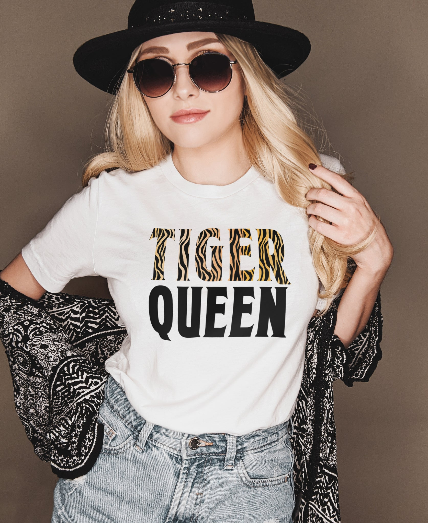 White shirt that says tiger queen - HighCiti