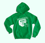 Green hoodie with football helmet that says touchdown baby - HighCiti