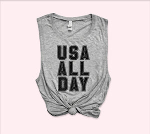 Usa All Day Muscle Tank - HighCiti
