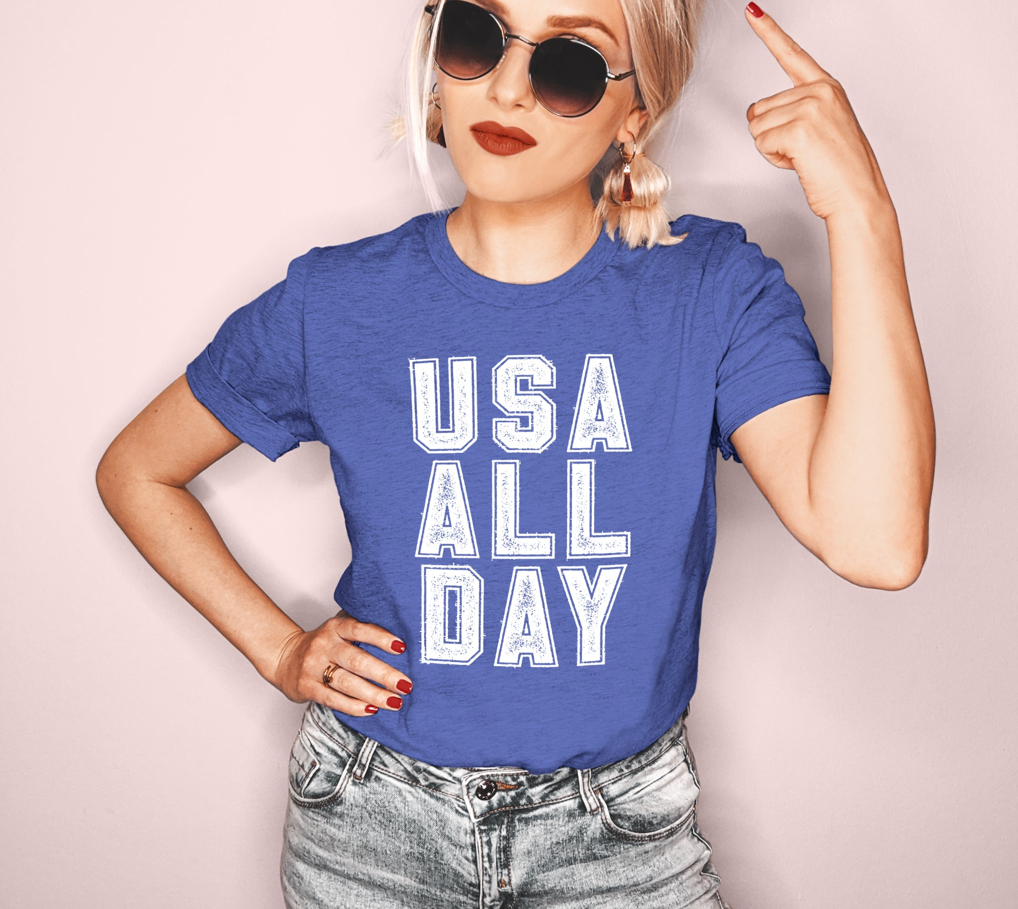 Heather royal blue shirt that says usa all day - HighCiti