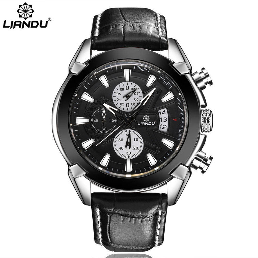 LIANDU 2017 Business Watch Men Auto Date Leather Dress Quartz Men's Watches Male Clock Montre Homme relogio masculino #510