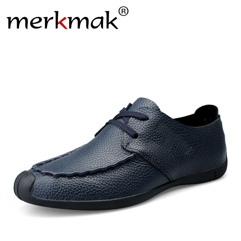 Merkmak Genuine Leather Men Shoes Autumn Male Casual Shoes New 2017 Fashion Leather Shoes Loafers Men's shoes Flats zapatillas